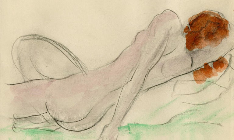 Reclining Female Nude - Art by Boris Lovet-Lorski