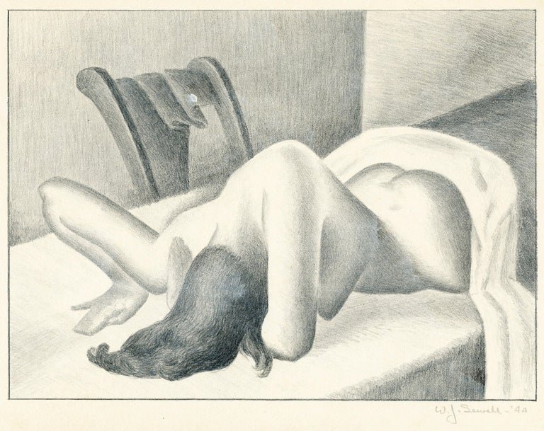 William Sewell Nude Print - Untitled (Reclining nude, face down)
