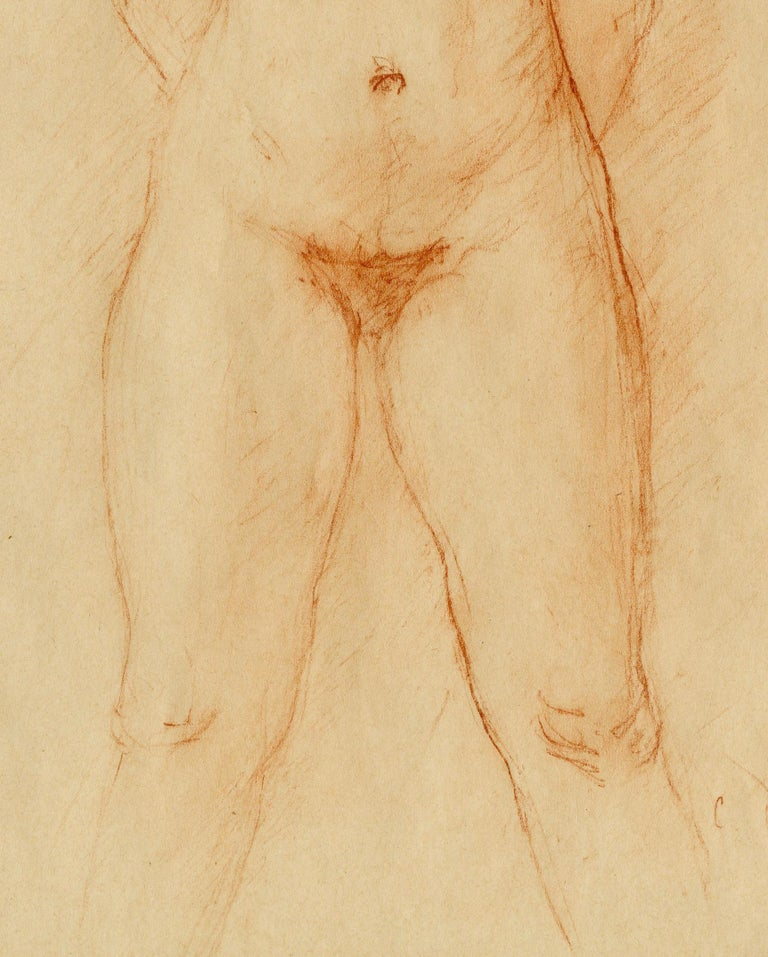 Nu (Standing Female Nude) Red chalk on wove paper, c. 1925 Signed lower right: C Despaiu (see photo) Sheet size (folded format): 12 1/8 x 8 5/16 inches Condition: Very good Sheet folded in 1/2 prior to creation of this drawing on 1/2 of the