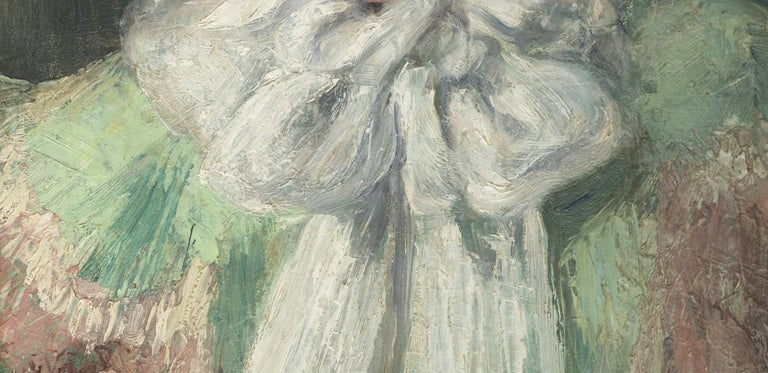 The White Scarf (Self Portrait of the Artist) - Gray Figurative Painting by Eugenie M. Heller