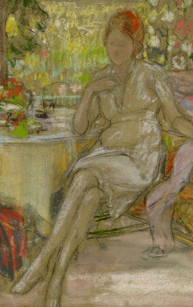 Woman on a Patio Pastel on paper, c. 1915 Unsigned Provenance: Gift of the artist to his wife, Mary Hess Buehr                       By decent to the artist's niece, daughter of Will Hess                       David Saltzman