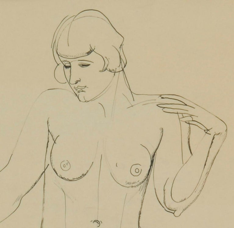 Standing Female Nude Match stick and ink drawing, c. 1925 Signed with the estate stamp B Sheet size: 21 x 16 inches Created at the Kakoon Arts Klub, Cleveland A wonderful example of Sommer's Neoclassic line drawing style. Provenance: Estate of the