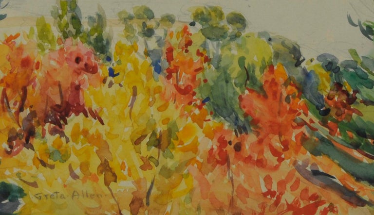 untitled (Maine Autumn Landscape across the narrows from Mt. Desert) - American Impressionist Art by Greta Allen