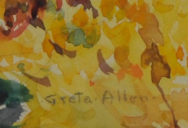 untitled (Maine Autumn Landscape across the narrows from Mt. Desert) - Brown Landscape Art by Greta Allen