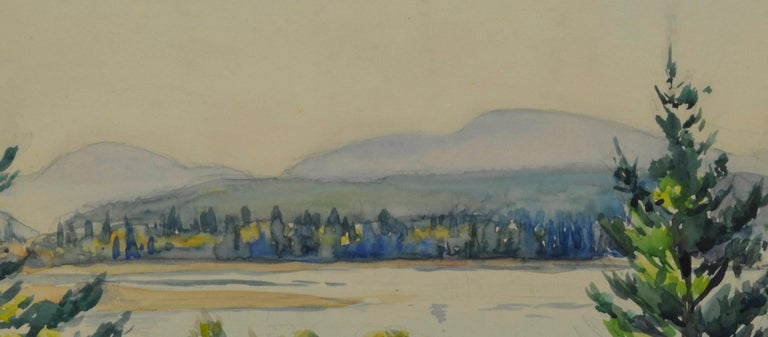 untitled (Maine Autumn Landscape across the narrows from Mt. Desert) Watercolor, 1945-1955 Signed by the artist lower left in pencil (see photo) Provenance: Estate of the artist Condition: Excellent Image/Sheet size: 14 1/4 x 19 5/8 inches Regarding