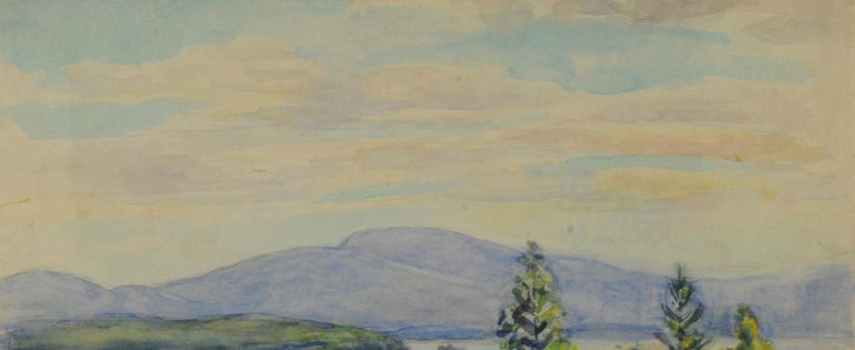 untitled (Maine Landscape near Mt. Desert Island) Watercolor on paper, c. 1945-1955 Signed by the artist lower left (see photo) Provenance: Estate of the artist Condition: Excellent Image/Sheet size: 12 3/4 x 17 3/4 inches Regarding the Maine