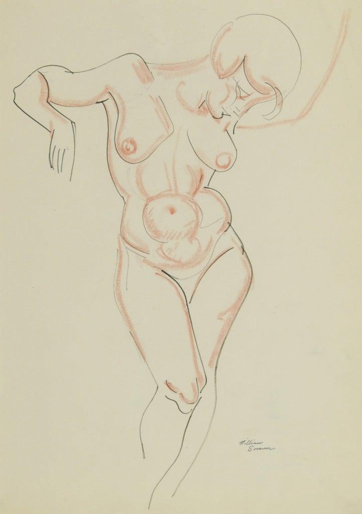 Nude, arms raised