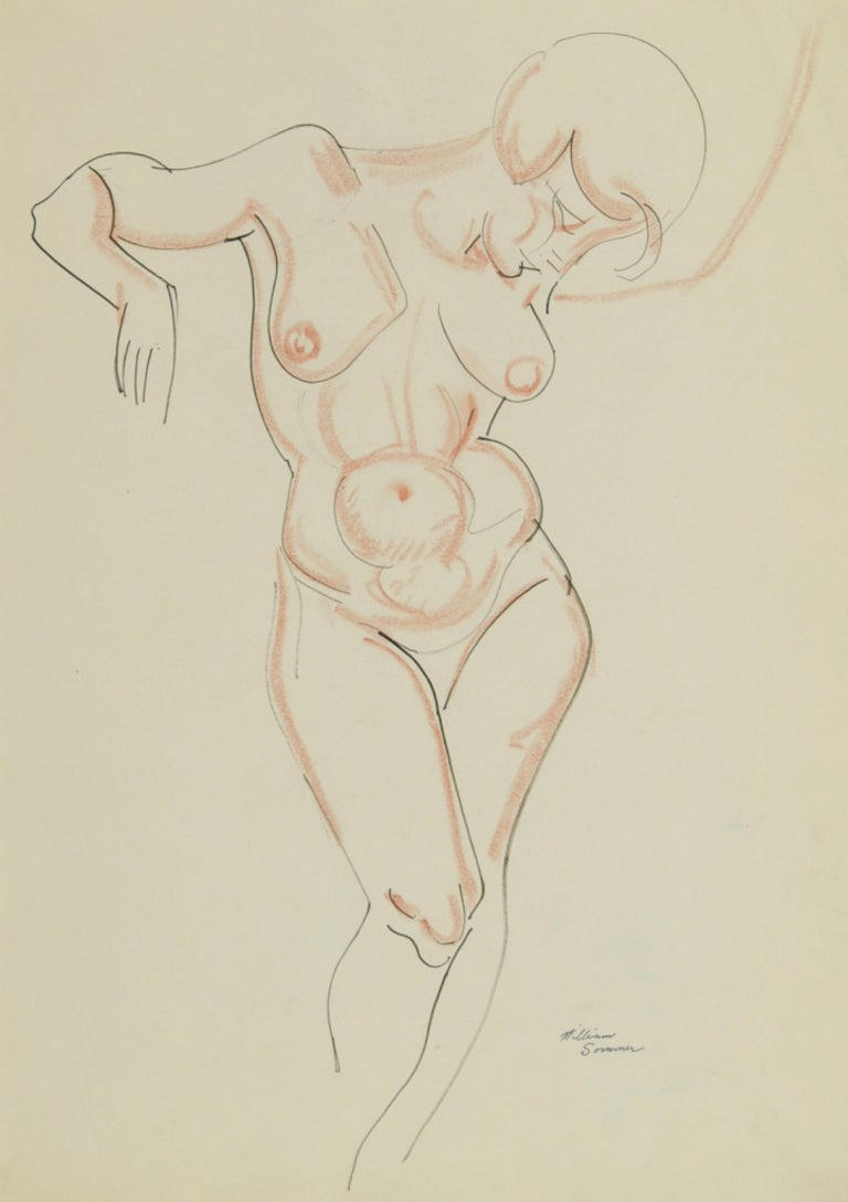 Nude, arms raised - Art by William Sommer