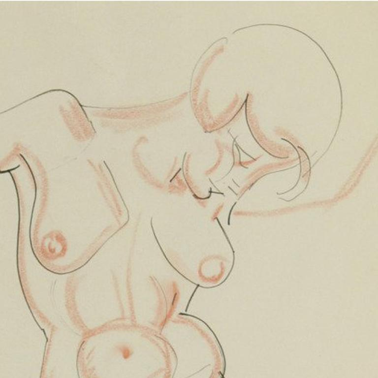 Nude Matchstick and ink drawing heightened with conte crayon c. 1925 Signed with the Estate Stamp