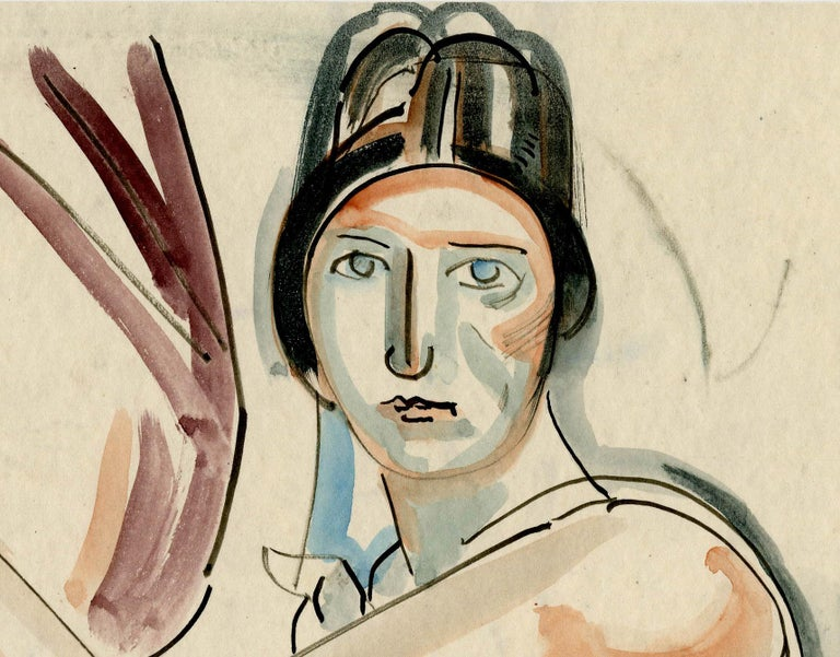 Flapper in a Black Hat - American Modern Art by William Sommer