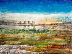 Noon - Abstract, Landscape Painting, 21st Century, Acrylic, Blue, Gogi Gelantia