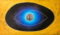 Omnipresence - painting, contemporary, 21st century, eye, gold, blue, Georgian
