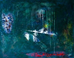 Obscure - Abstraction, Dark, Acrylic, Painting, 21st Century, Drip, Green, White