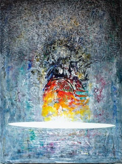 Explosion - Abstract, Painting, Acrylic, Colourful, Patterns, Impasto, Blue, Red