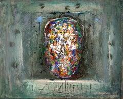 Holy Head - Skull, Abstract, Memento Mori, Acrylic, 21dt Century, Dark, Painting
