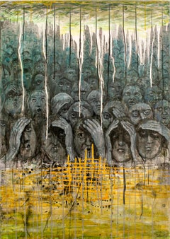 Herder - Painting, Acrylic, 21st Century, Political, Dark, Yellow, Faces