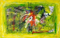 Abstraction - painting, 21st century, abstract, bright, yellow, red, acrylic