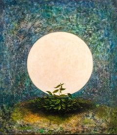 Moon - painting, acrylic, canvas, celestial, blue, plant, 21st century, Georgian