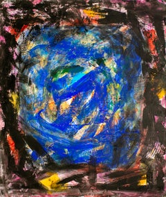 Abyss - 21st century, contemporary, abstract, gestural, black, blue, acrylic