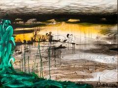 Dusk - Abstract, Painting, 21st Century, Acrylic, Landscape, Dark, Yellow