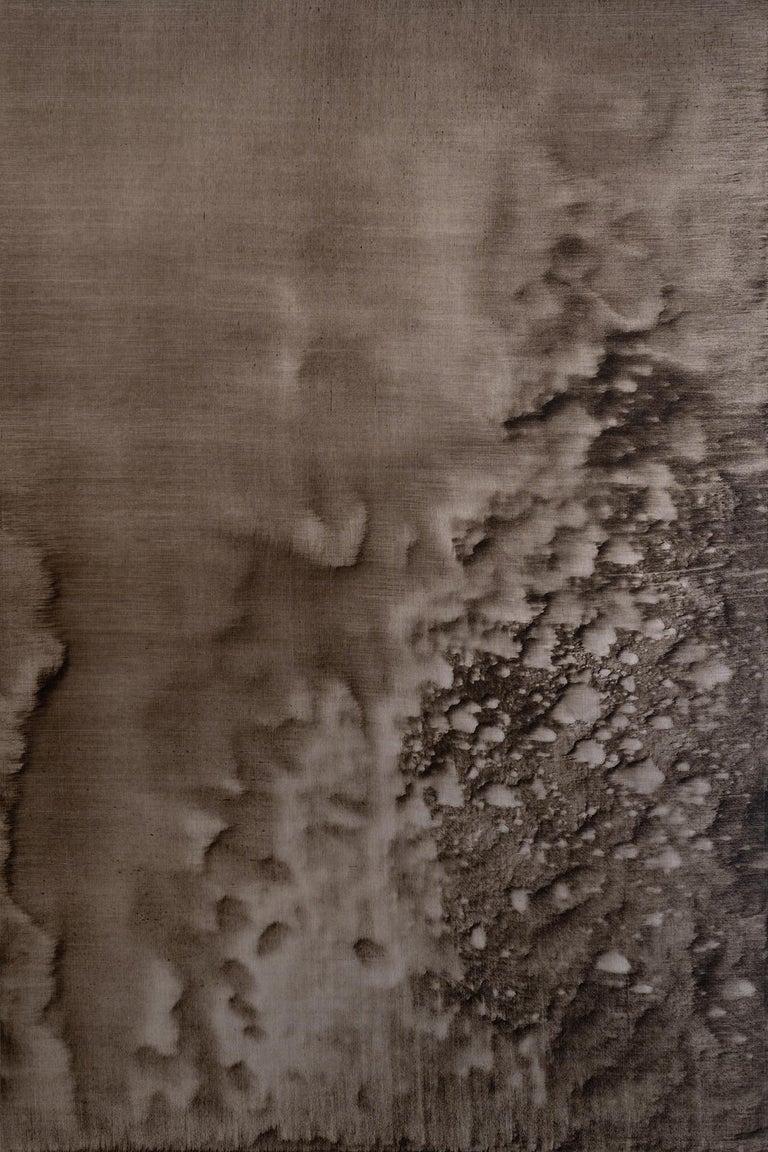 Christo Daskaltsis Abstract Painting - 0620-02 - Painting, Aluminium, Oil, Abstract, 21st Century, Brown