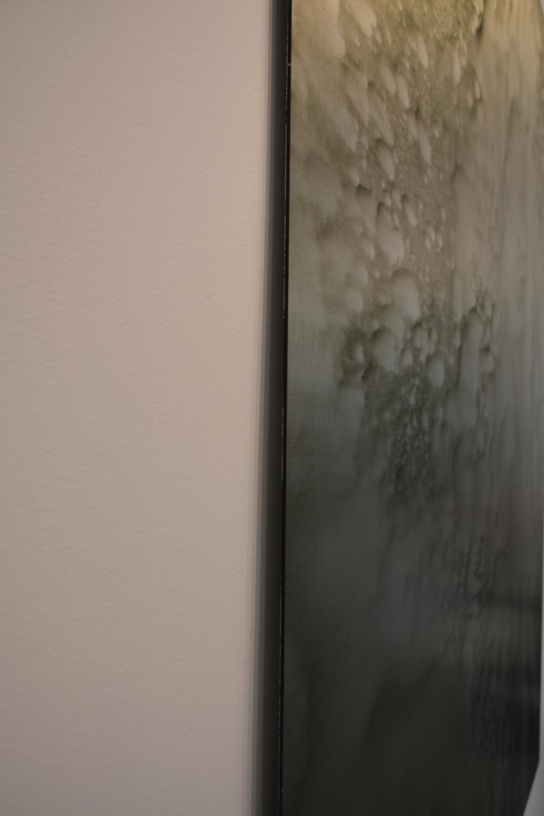 0620-01 - Painting, Aluminium, Oil, Abstract, 21st Century, Grey, Green For Sale 3