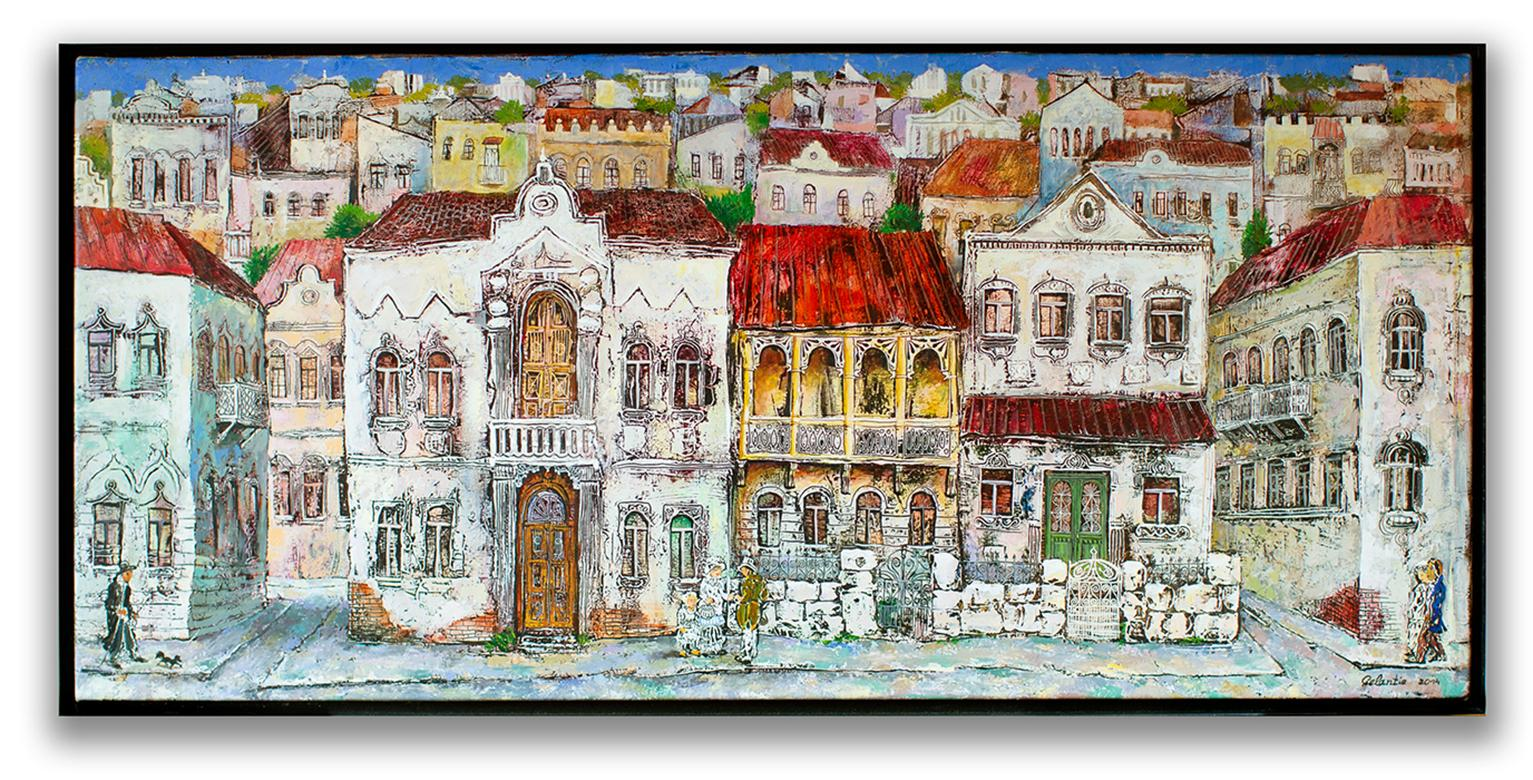 The Old Town - painting, mixed media, canvas, cityscape, 21st century, Georgian