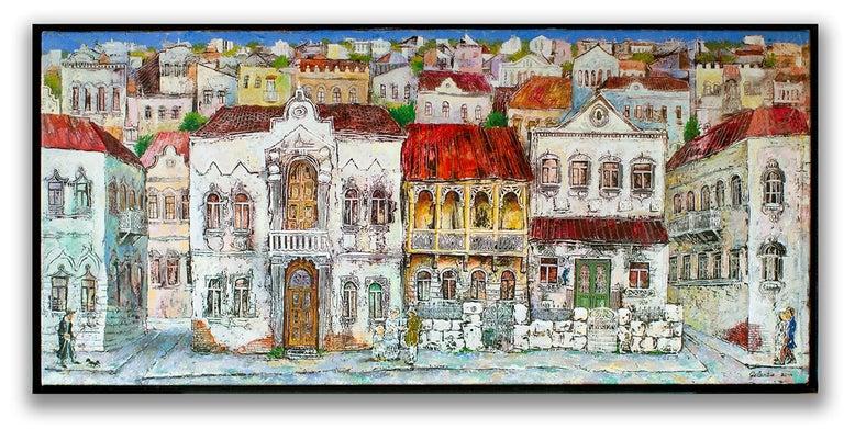 Gogi Gelantia  Figurative Painting - The Old Town - painting, mixed media, canvas, cityscape, 21st century, Georgian