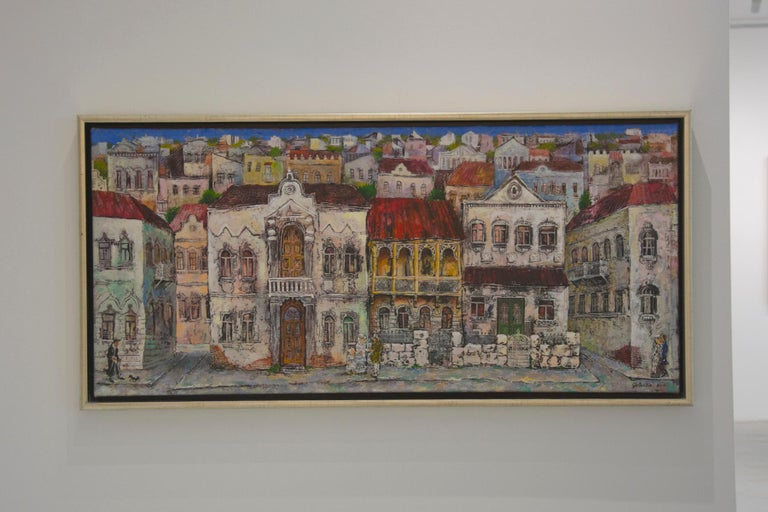 The Old Town - painting, mixed media, canvas, cityscape, 21st century, Georgian  - Gray Figurative Painting by Gogi Gelantia