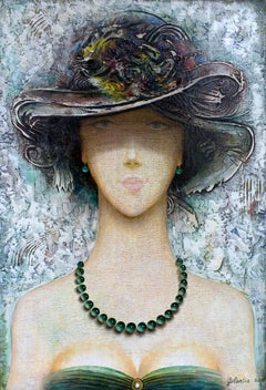 Young Lady - painting, acrylic, canvas, female, portrait, pastel, Georgian