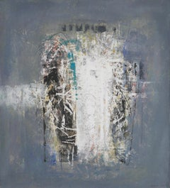 Abstraction - contemporary, painting, oil paint, canvas, blue, white, Georgian