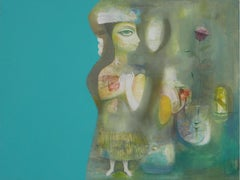 Fertility - painting, acrylic, canvas, blue, yellow, figurative, female figure