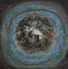 Milky Way - painting, found objects, compass, circular, blue, gold, abstract