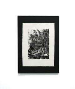 Unterholz - lithograph, print, black & white, landscape, forrest, young artists