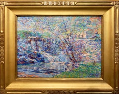 Waterfall, American Impressionist Landscape, Springtime, Oil on Board, Framed
