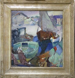 Return of the Fishing Boat, Modernist, Harbor Scene, Oil on Canvas, Framed