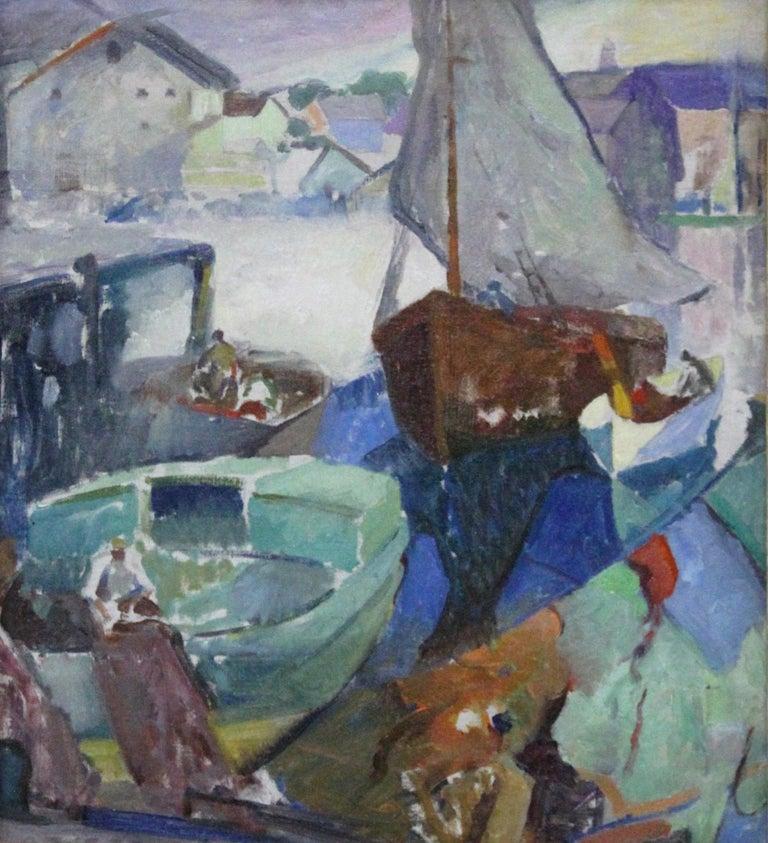 Return of the Fishing Boat, Modernist, Harbor Scene, Oil on Canvas, Framed - American Modern Painting by Hugh Breckenridge