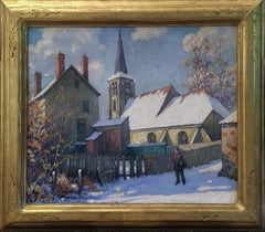 Old Swede's Church in Winter, Philadelphia City Scene, American Impressionist