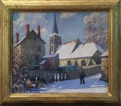 Old Swede's Church in Winter, Philadelphia City Scene, American Impressionist