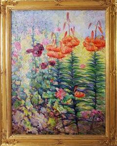 Tiger Lillies, American Impressionist Floral Landscape, Oil on Canvas, Framed