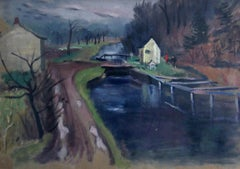 House on Canal, American Landscape with Bridge and Figures, Watercolor on Paper