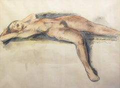 Unknown Nude, Watercolor on Paper, Reclining Female Nude, Signed and Framed