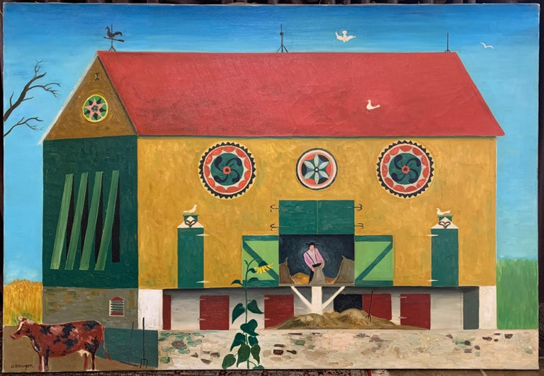 Tobacco Barn, Folk Art Landscape with Figure and Farm Animal, Pennsylvania Dutch - Painting by David Ellinger