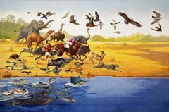 The Speed of Mammals, ca. 1960, Mixed Media on Paper, Landscape with Animals