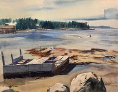 Double Sided Watercolor on Paper, 1965, Woodland Interior and Maine Seascape