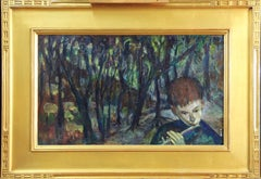 Woodwind, Environmental Portrait of Boy with Flute, Oil on Board, Signed, Framed