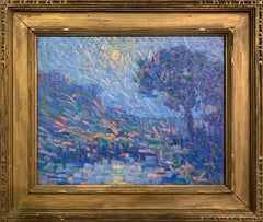 Blue Landscape, American Impressionist, Oil on Board, Signed and Framed
