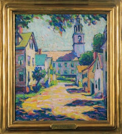 Gould's Court, American Impressionist Town Scene, Oil on Board, Artist's Estate