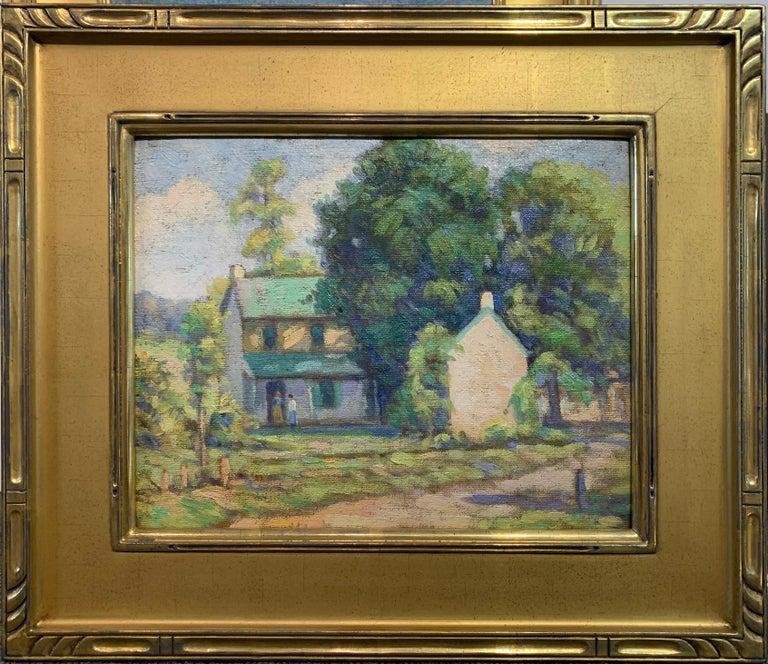 Albert Van Nesse Greene Landscape Painting - The Conversation, American Impressionist Landscape with Figures,  Oil on Canvas