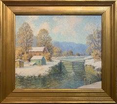 The Canal Lock, American Impressionist Winter Landscape,  Oil on Board